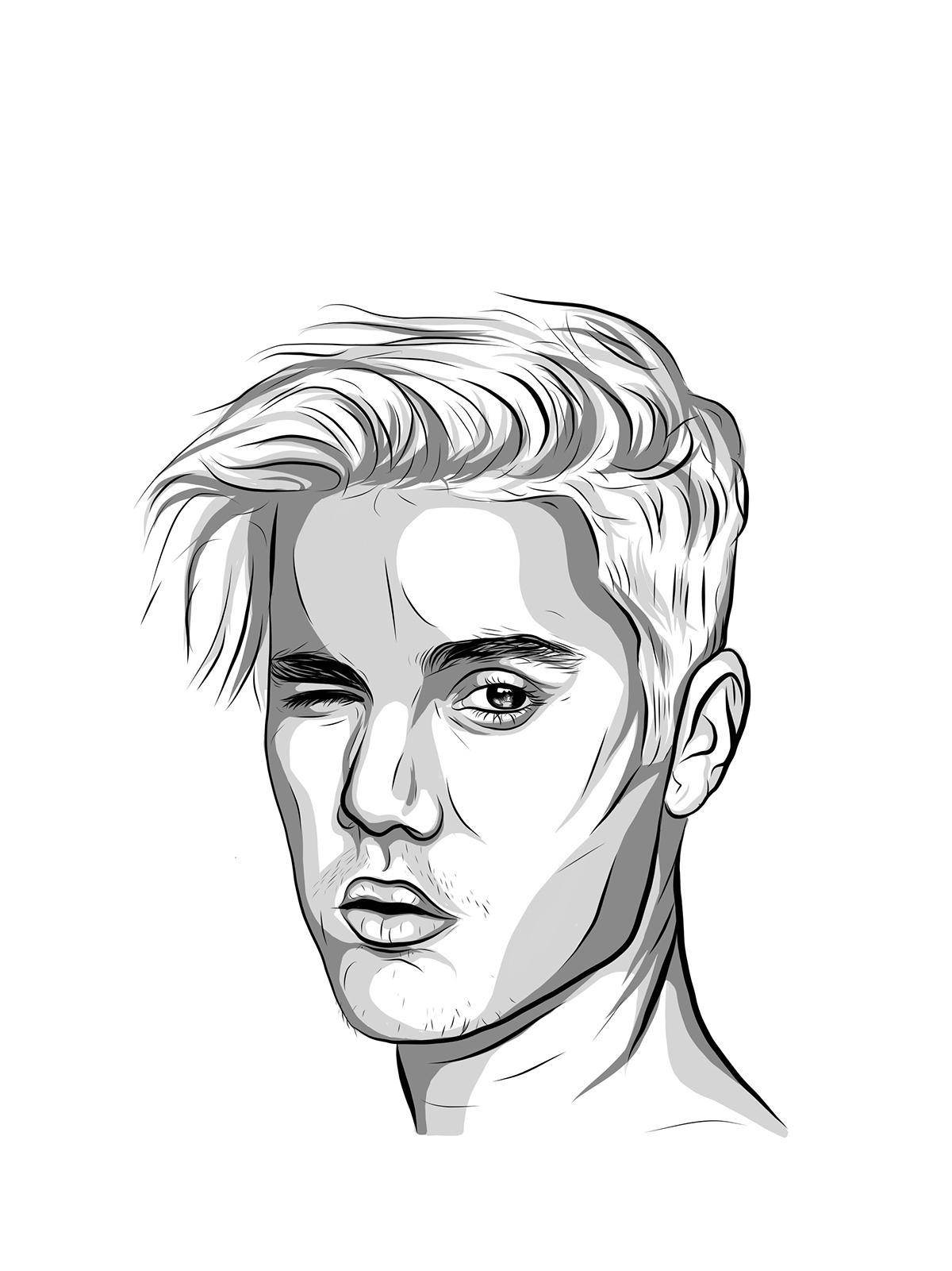 1200x1601 Justin Bieber Illustration On Behance
