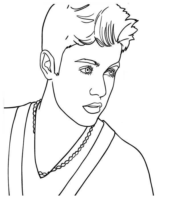 600x776 Canadian Pop Singer Justin Bieber Coloring Page