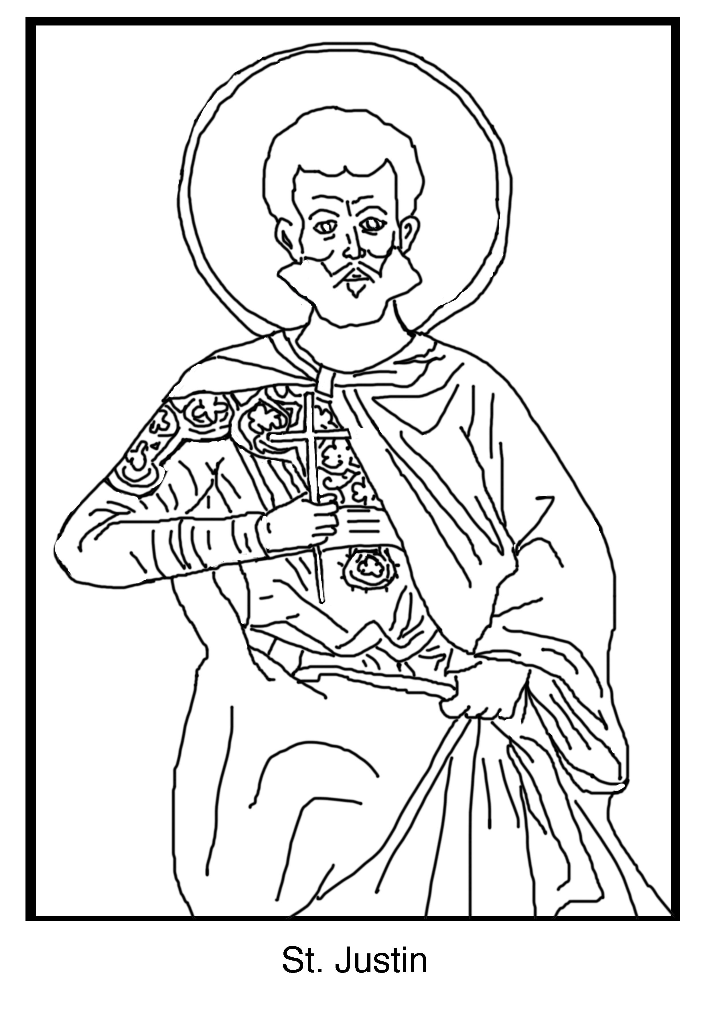 2487x3593 Free Coloring Page ~ Saint Justin