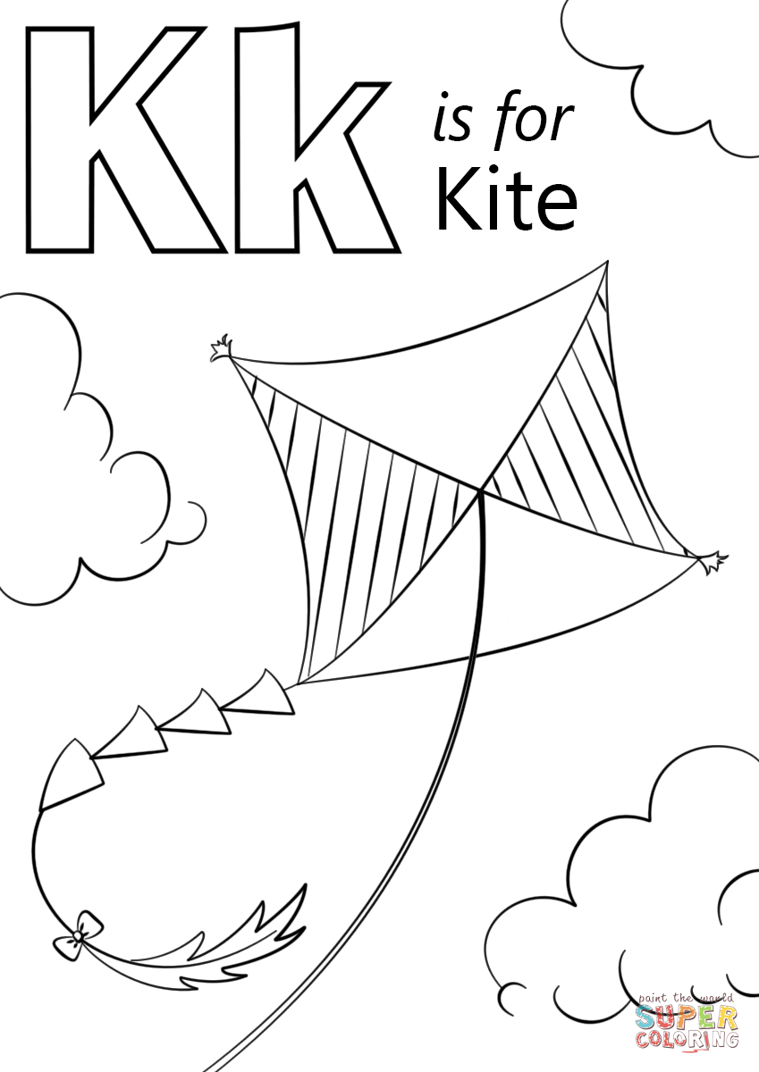 849x1200 K Is For Kite Coloring Page Free Printable Coloring Pages