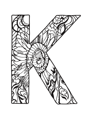 371x480 Letter K Zentangle Coloring Page Free Printable Coloring Pages