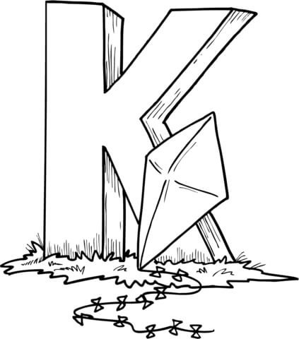 423x480 Letter K Is For Kite Coloring Page Free Printable Coloring Pages