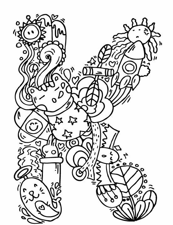 552x720 Alphabet K Doodle Art
