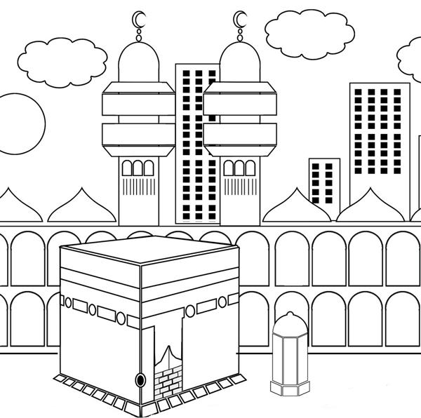 600x596 Kaaba Ka'Bah Colouring Page Islamic Worksheets For Children