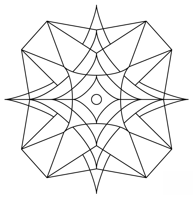 824x838 Kaleidoscope 3 Free Coloring Page