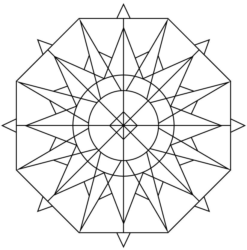 824x834 Kaleidoscope 8 Free Coloring Page