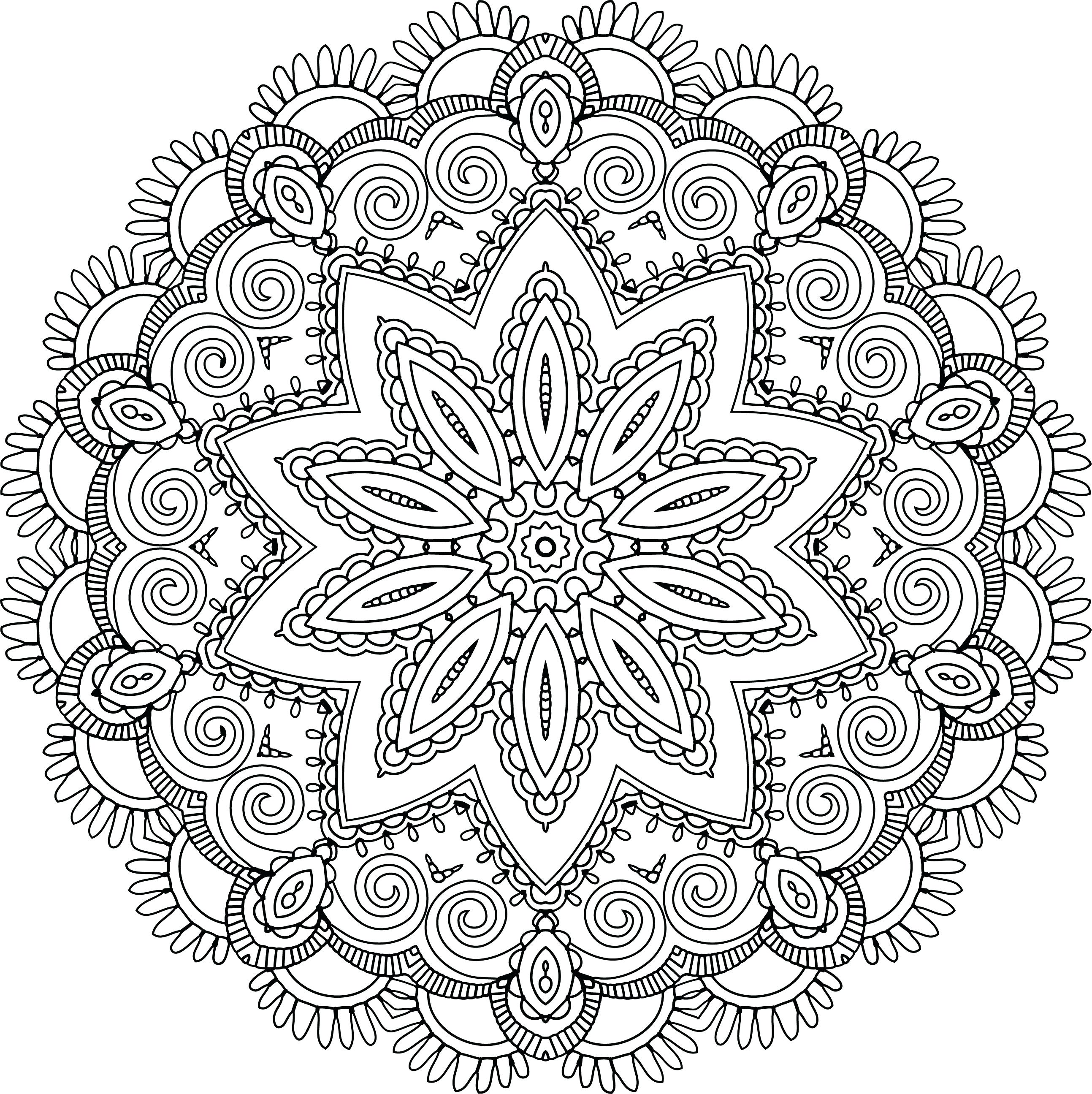 2587x2591 Coloring Kaleidoscope Coloring Pages Drawn Peacock Page
