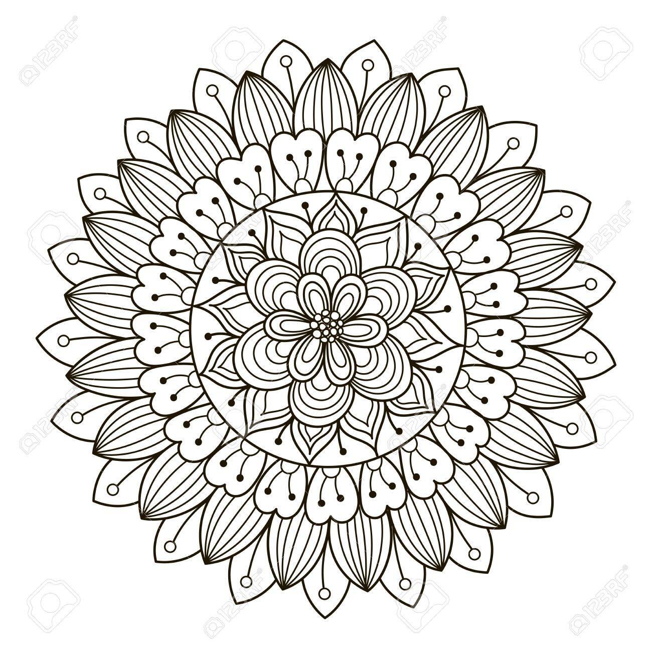 1300x1300 Beautiful Deco Floral Mandala. Vector Round Ornament Pattern