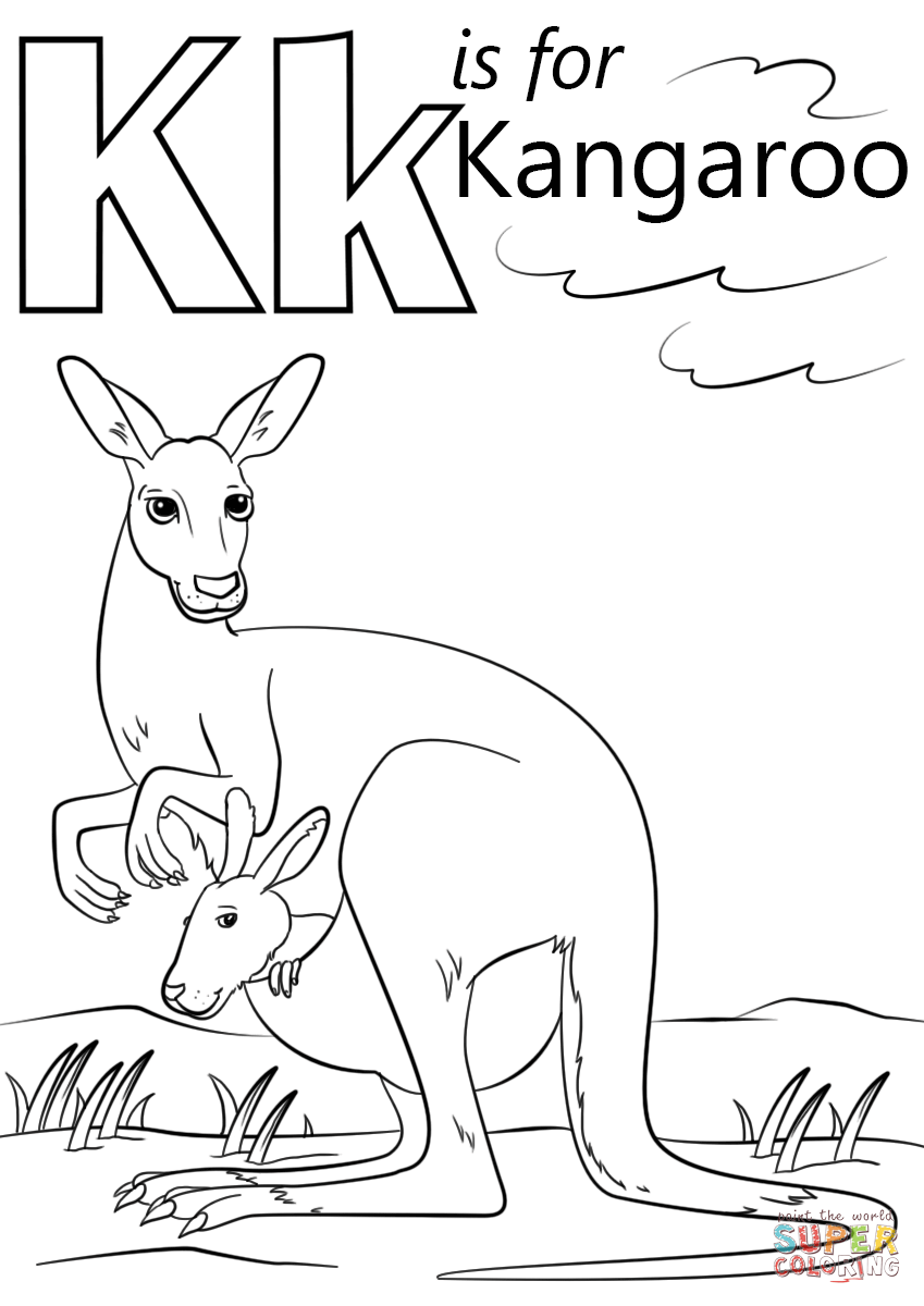 849x1200 Drawing Kangaroo Coloring Sheet 80 In With Throughout Page