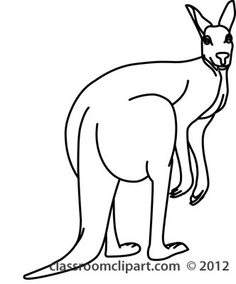 332x400 Kangaroo Clipart Line Drawing