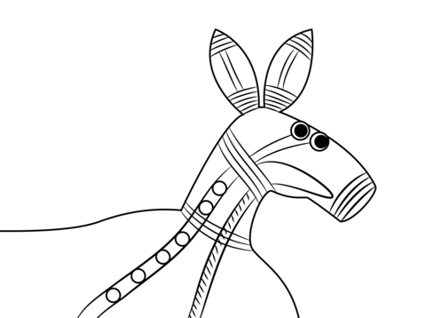 480x358 Aboriginal Painting Of Kangaroo Head Coloring Page Free
