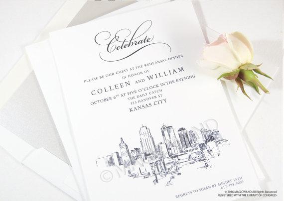 570x404 Kansas City Skyline Rehearsal Dinner Invitation Cards Set