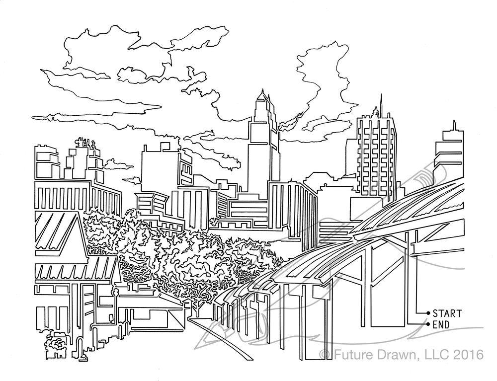 1000x767 Kansas City Skyline In Onelne Limited Series Prints Future Drawn