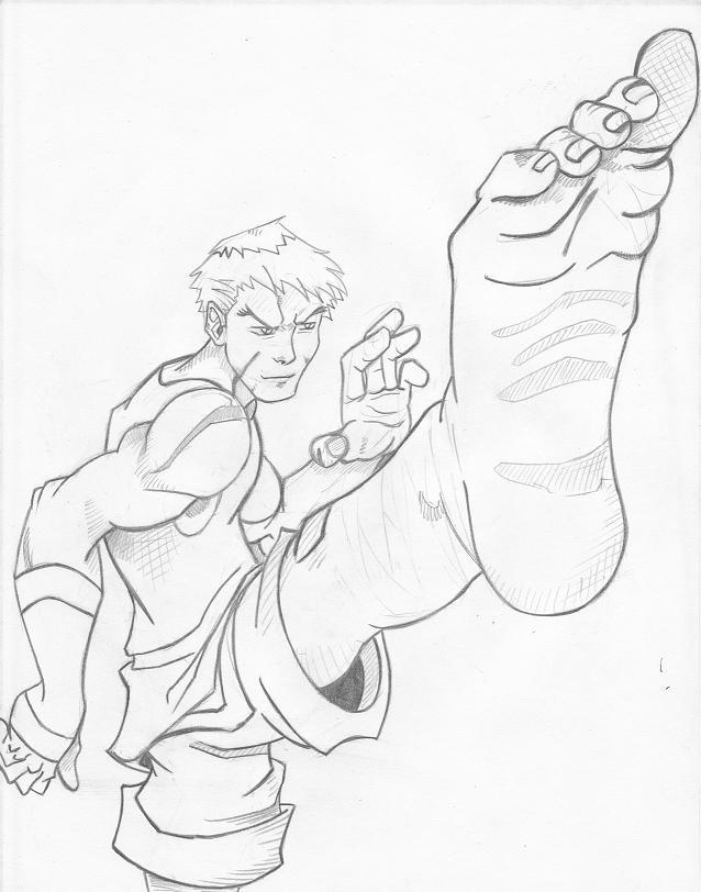 638x812 Karate Kick By Cyphrusffxi