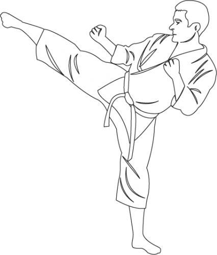 426x500 Clipartfort People Sports Karate Kick 1