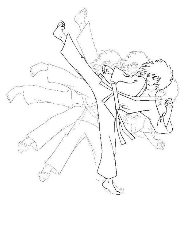 600x776 Karate Kid Shadow Kick Coloring Page Karate
