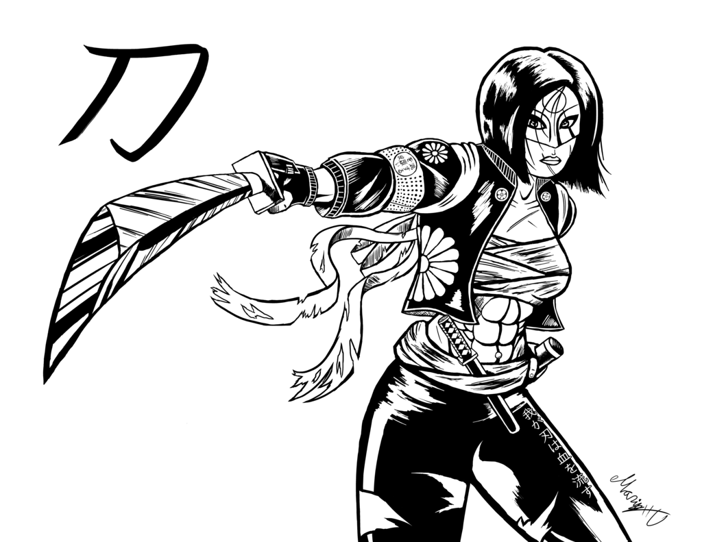 1024x791 Inked Suicide Squad's Katana By Marioucomics