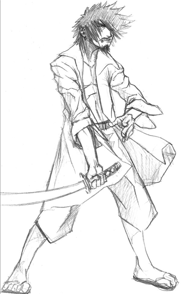 600x970 Sketchy Guy With Katana Sketch By Monkeybot9000