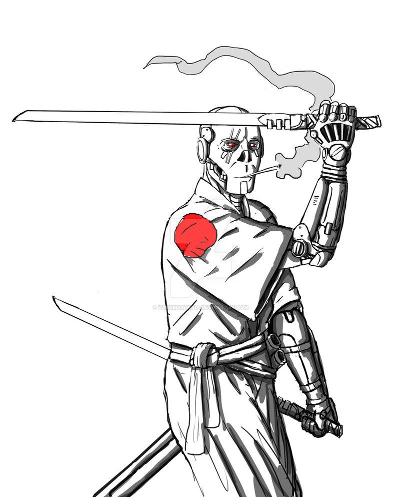 804x993 Cyborg Samurai Battle Stance By Darkmatteria