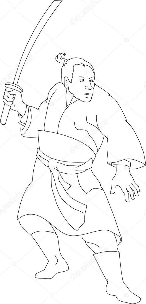 494x1024 Samurai Warrior With Katana Sword Stock Vector Patrimonio