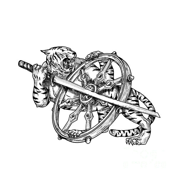 600x600 Tiger With Katana And Dharma Wheel Tattoo Digital Art By Aloysius
