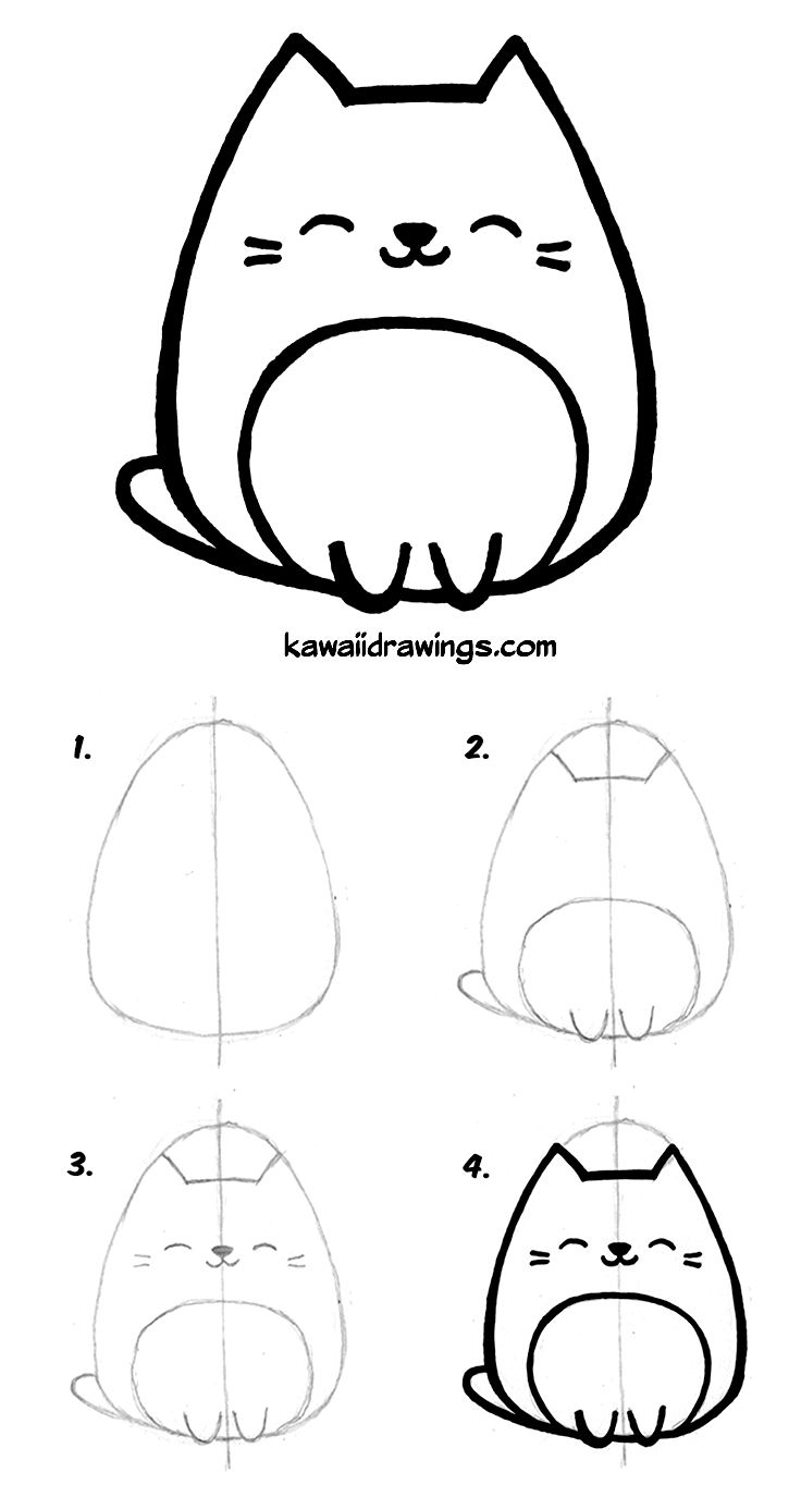 736x1375 How To Draw Kawaii Cat In 4 Easy Steps. Kawaii Drawing Tutorial