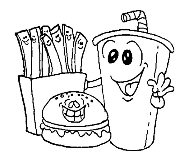 592x536 Kawaii Food Coloring Pages Lunch Mexican