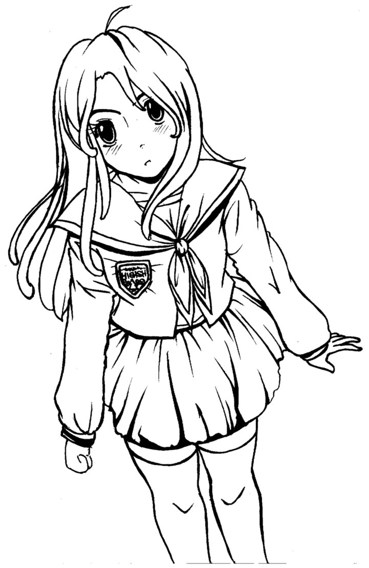 721x1109 Kawaii Girl Lineart By Sherlsquirl