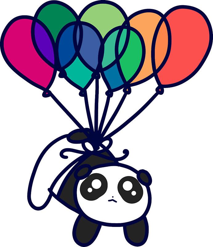 692x800 Kawaii Balloon Panda Stickers By Saradaboru Redbubble