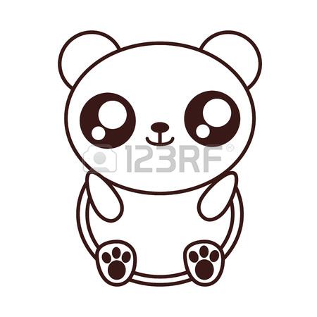 450x450 Kawaii Panda Bear Animal Icon Over White Background. Vector