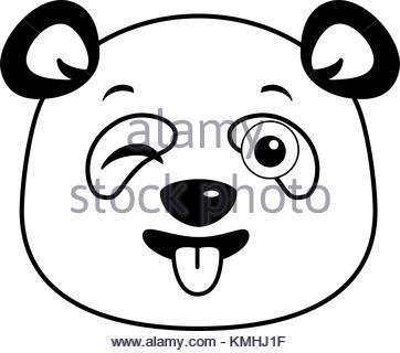 362x320 Cute Panda Happy Emoji Kawaii Vector Illustration Design Stock