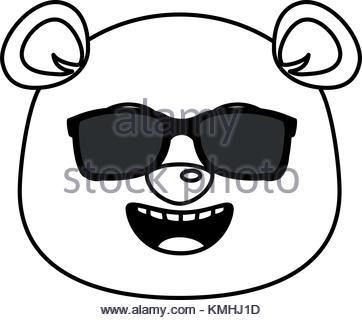 362x320 Cute Panda With Sunglasses Emoji Kawaii Vector Illustration Design