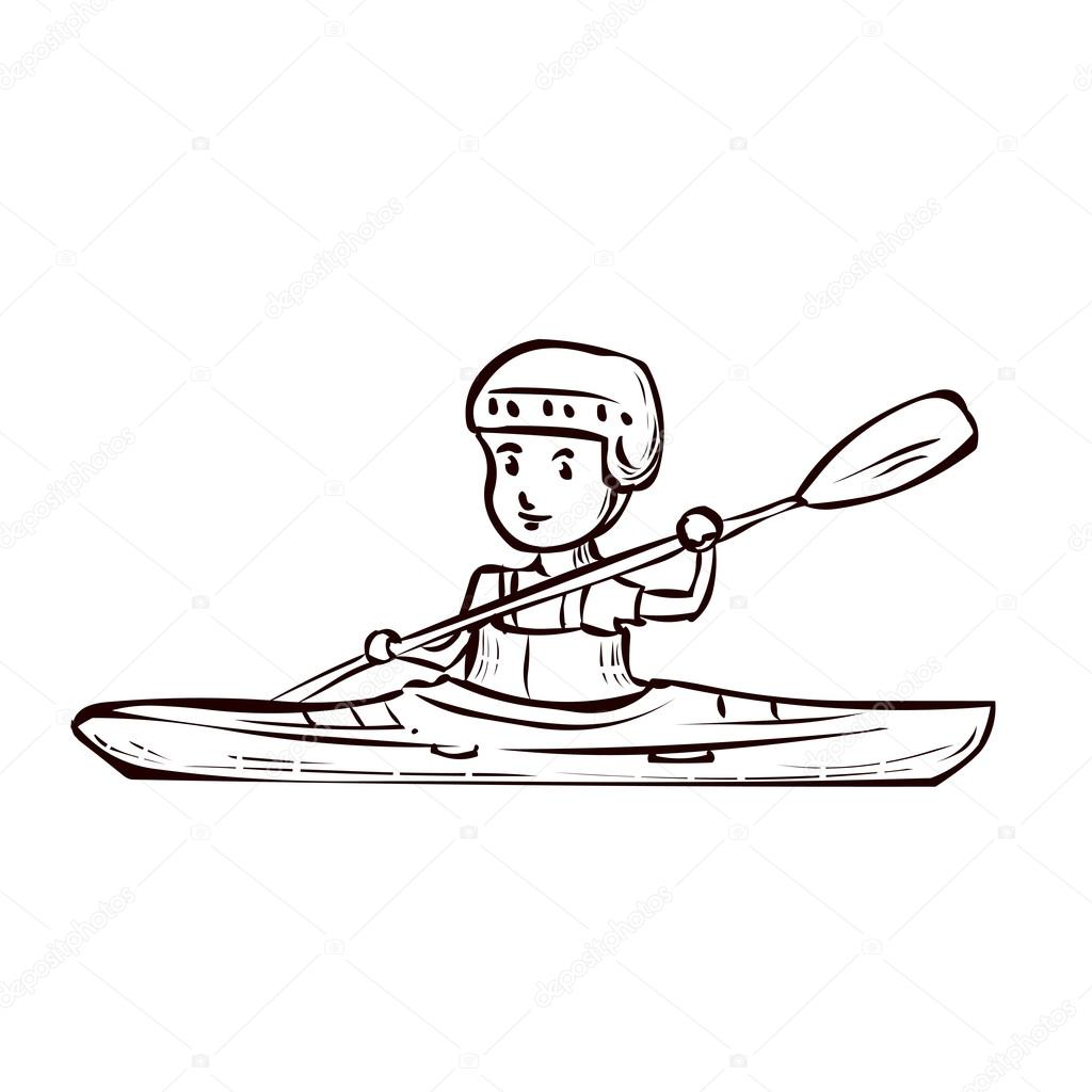 1024x1024 A Young Man In A Kayak. Stock Vector Dergriza