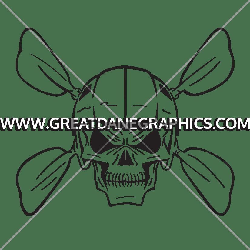 825x825 Kayak Skull Production Ready Artwork For T Shirt Printing