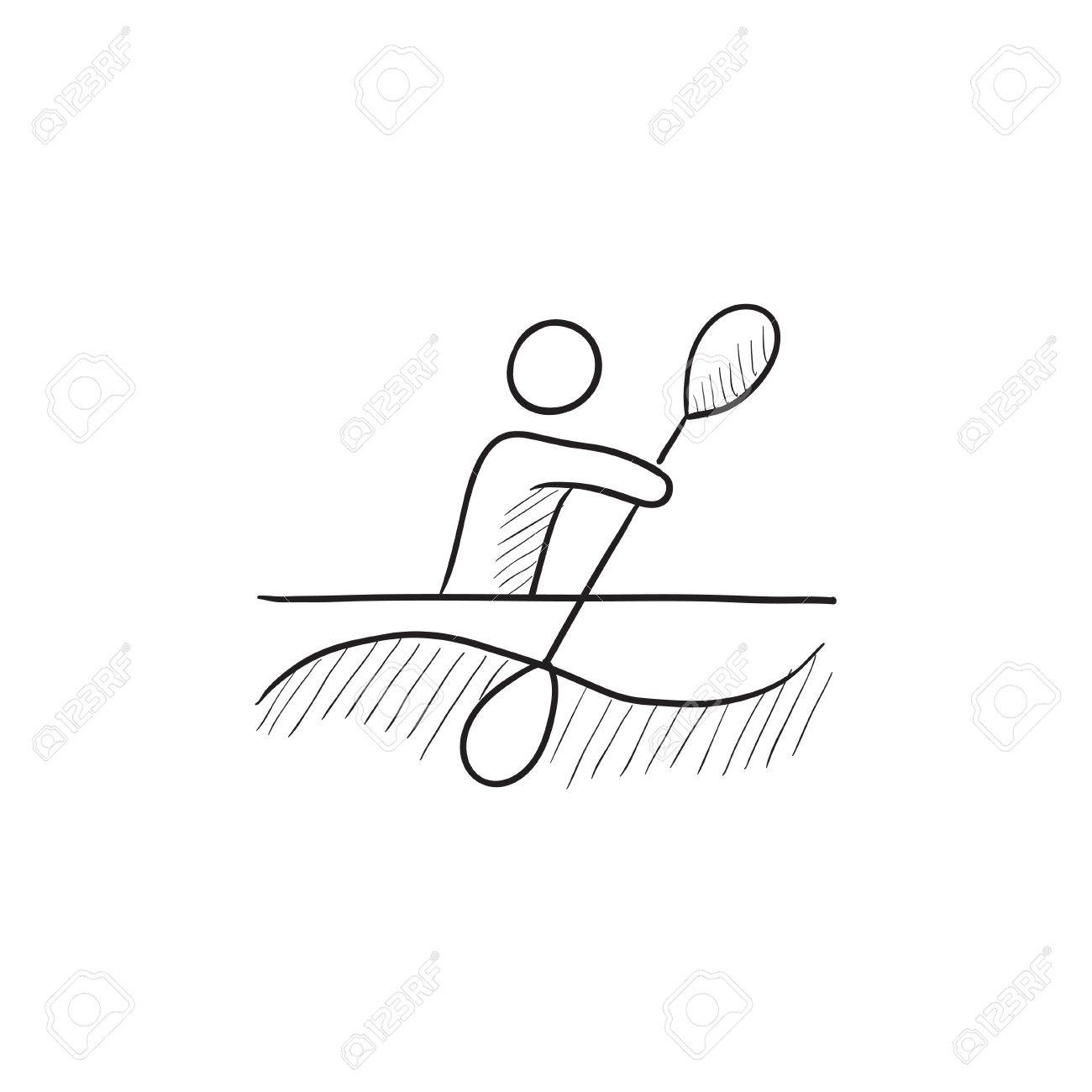 1300x1300 Man Kayaking Vector Sketch Icon Isolated On Background. Hand