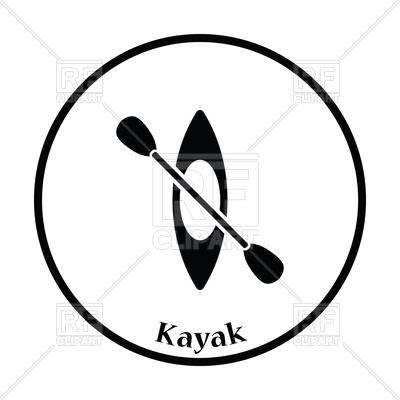 400x400 Thin Circle Design Of Kayak And Paddle Icon Royalty Free Vector