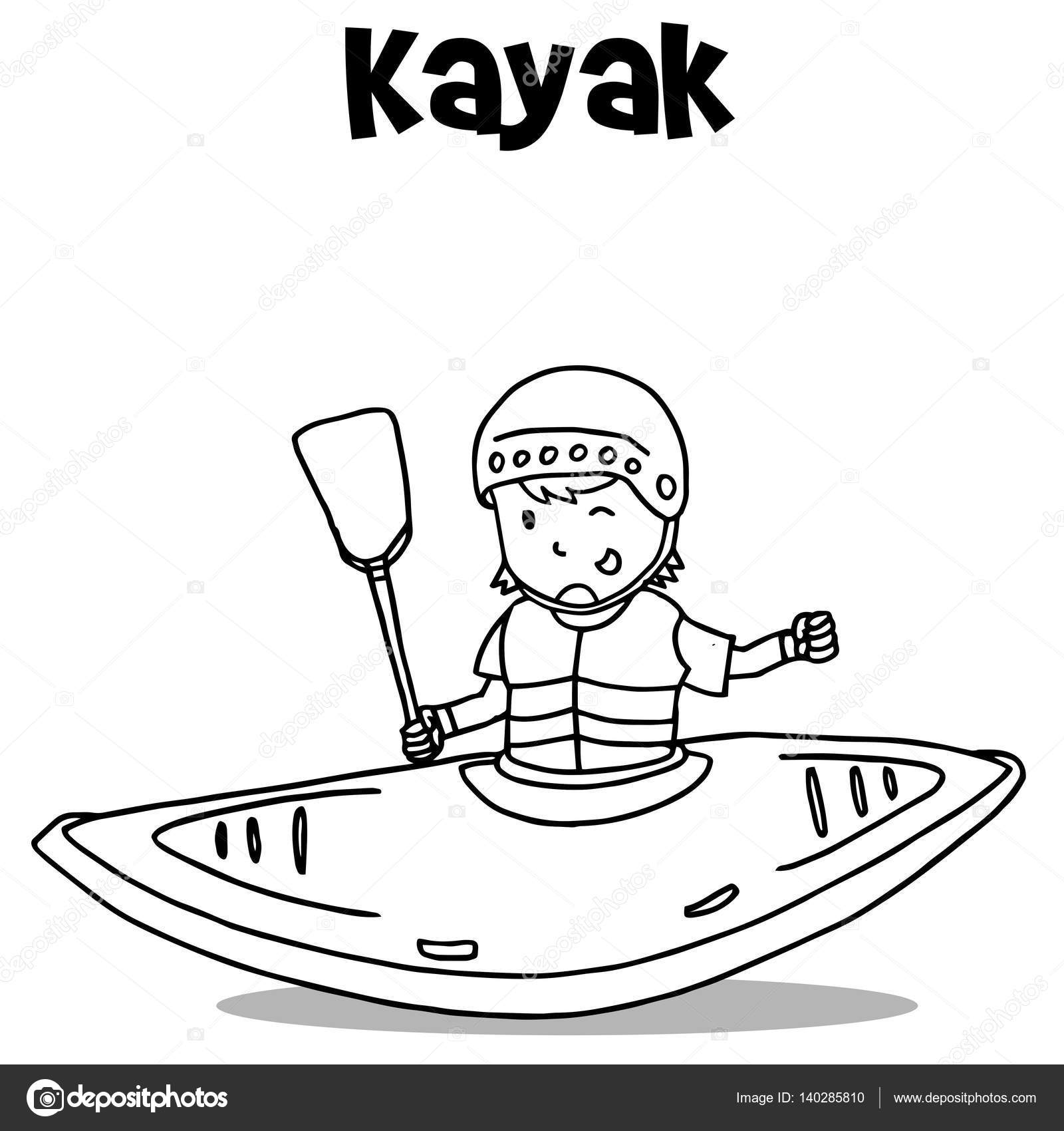 1600x1700 Vetcor Art Of Kayak Hand Draw Stock Vector Kongvector
