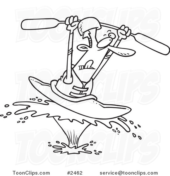 581x600 Cartoon Black And White Line Drawing Of A Kayaking Guy On A Big