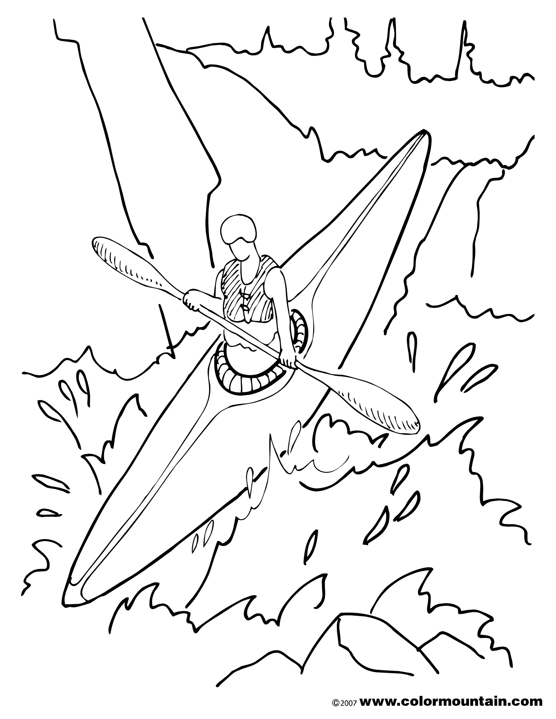 1800x2329 Kayak Coloring Pages For Adults Kayak Drawing
