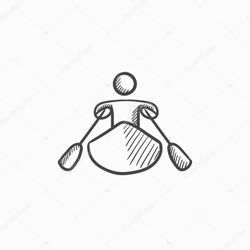 1024x1024 Man Kayaking Sketch Icon. Stock Vector Rastudio