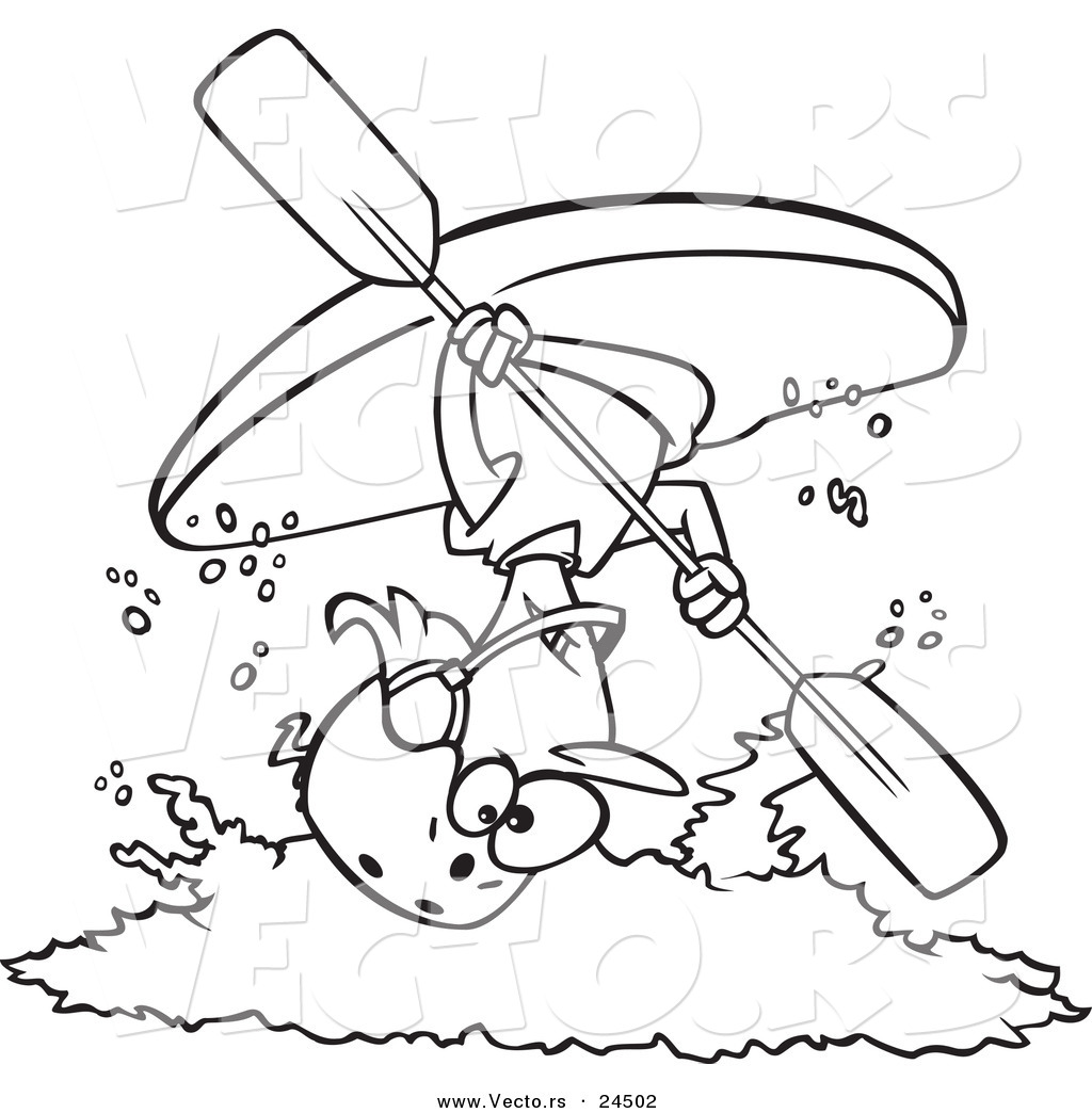 1024x1044 Vector Of A Cartoon Female Kayaker Doing A Flip Over White Water