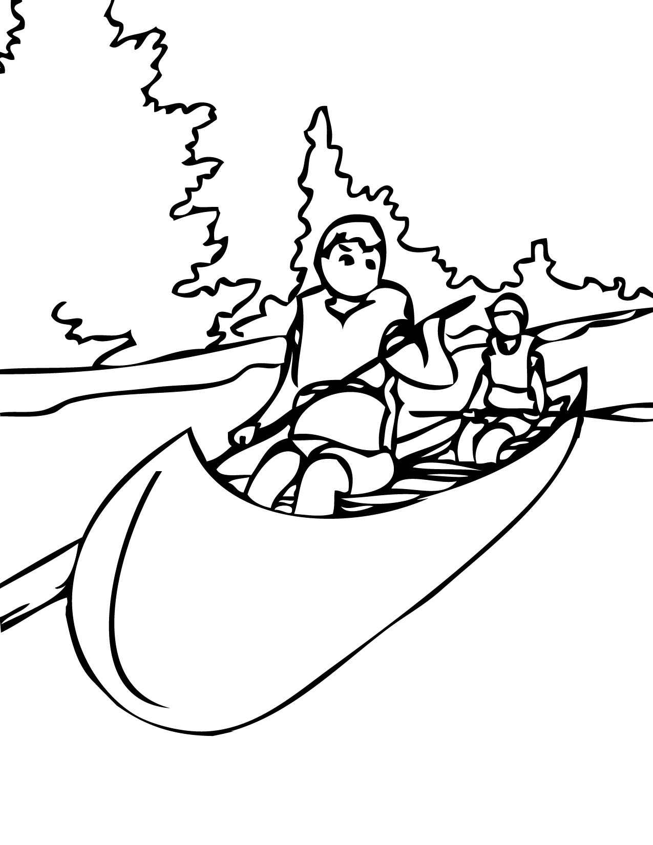 1275x1650 Canoe Trip Free Coloring Page Kids, Sports Coloring Pages