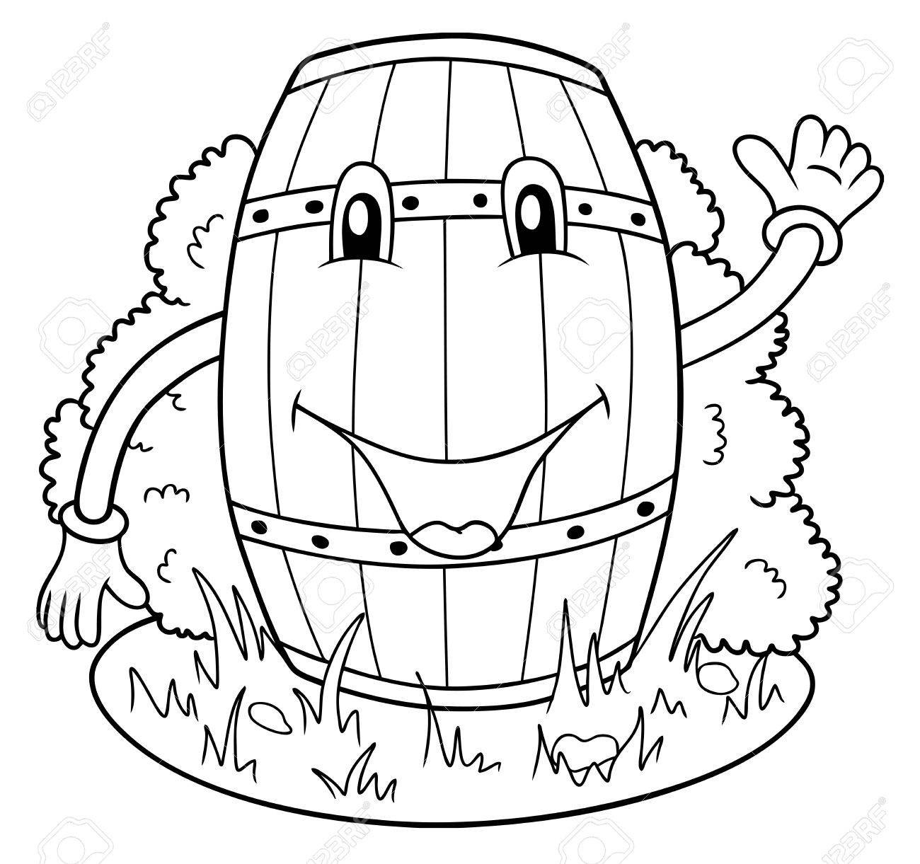 1300x1221 Funny Keg, Coloring Page Illustration Royalty Free Cliparts