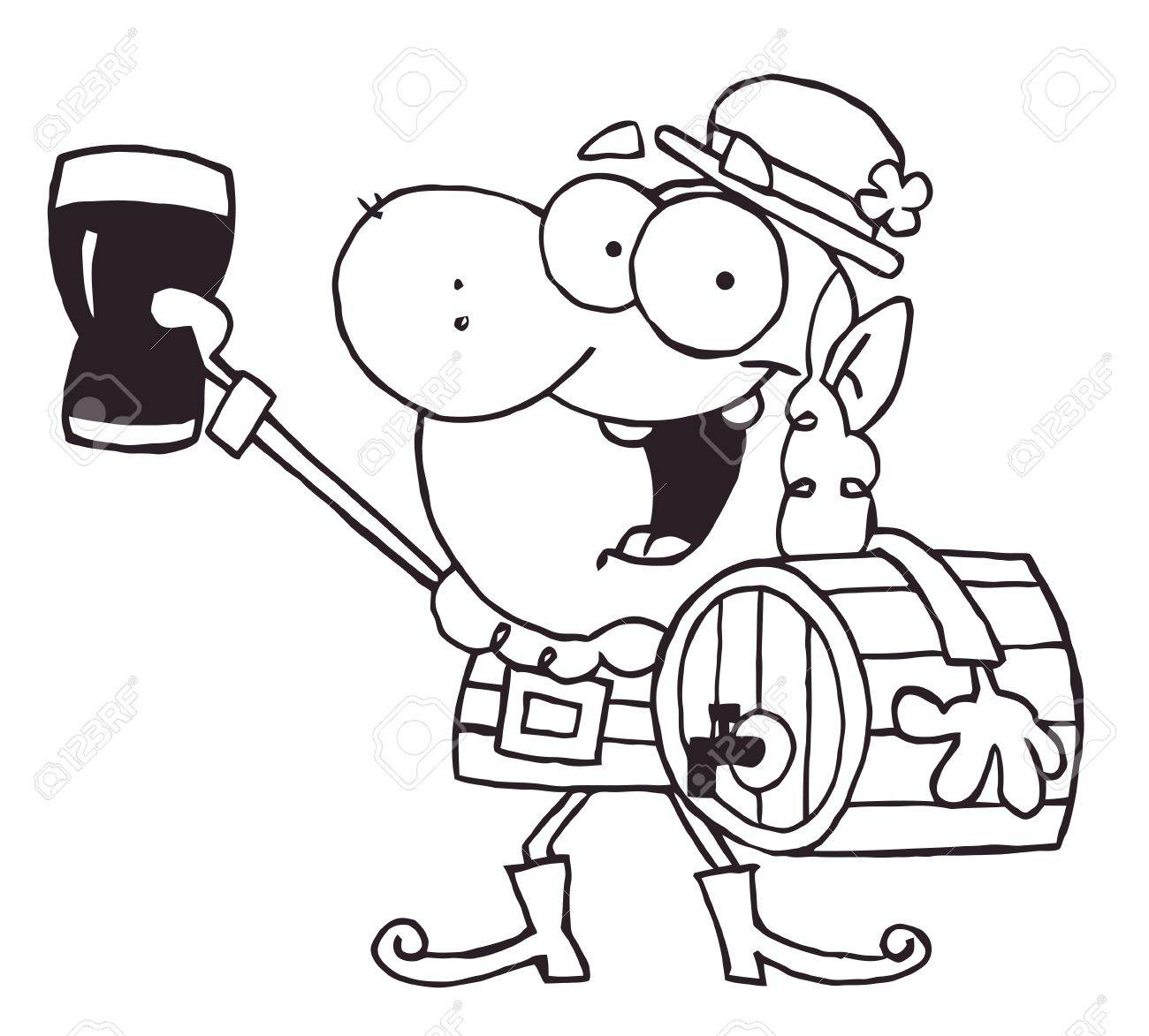 1300x1173 Outlined Leprechaun Carrying A Beer Keg And Holding Up A Glass