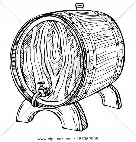 450x470 Sketch Wooden Barrel. Hand Drawn Vector Amp Photo Bigstock