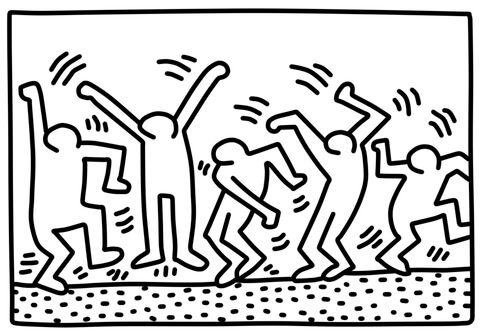 480x334 Dancing Figures By Keith Haring Coloring Page Free Printable