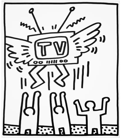 412x468 Keith Haring, Print, Flying Tv