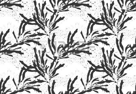 450x311 Kelp Seaweed Black On Black Texture.hand Drawn With Ink Seamless