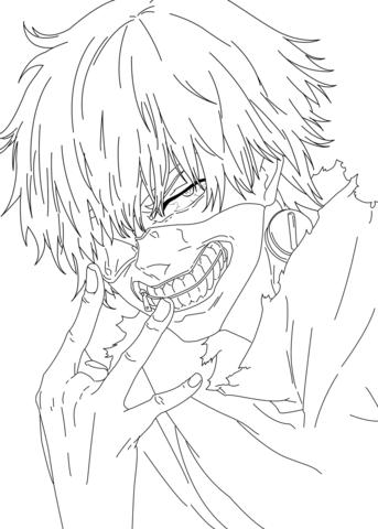 343x480 Ken Kaneki From Tokyo Ghoul Manga Coloring Page Free Printable