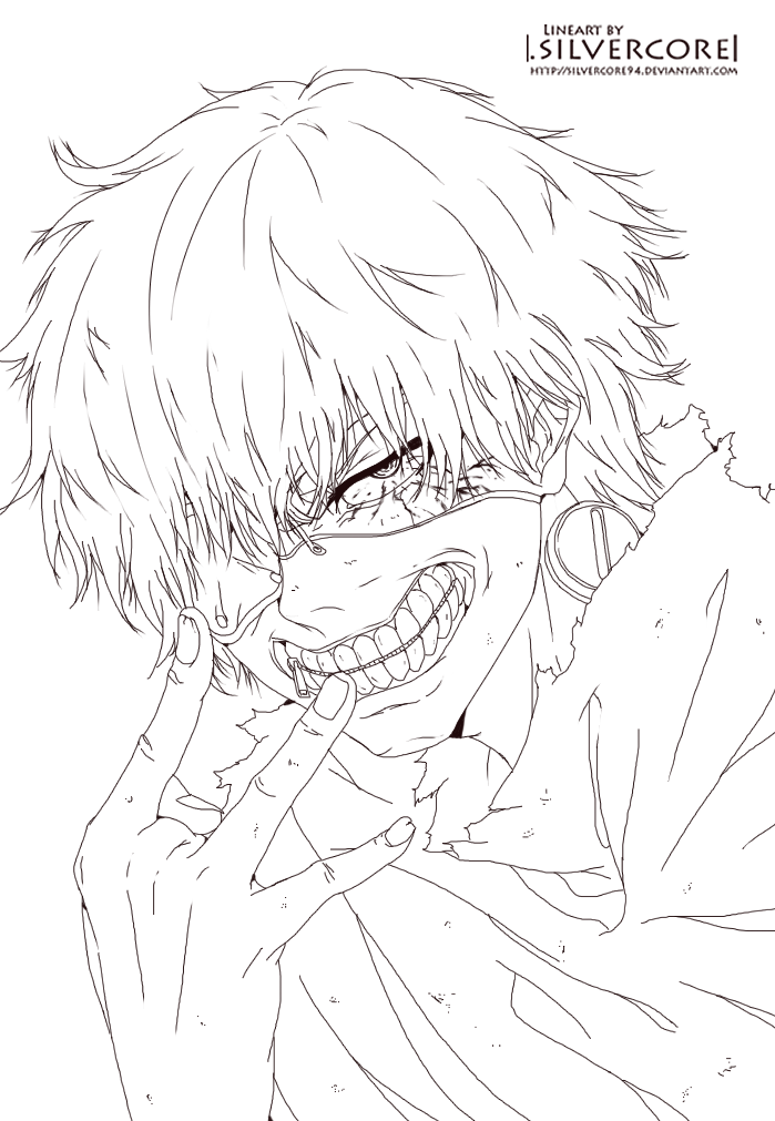 699x1011 Tokyo Ghoul Kaneki Lineart By Silvercore94